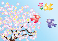 The birds and flowering trees. Stock Images