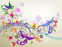 Birds and flowers. Decorative colorful background with stylized flowers and birds patterns Stock Photography