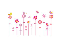 Birds on flowers. And the butterfly is flying Stock Images