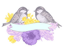 Birds and flowers with banner. Drawn in pen and ink style Royalty Free Stock Photo