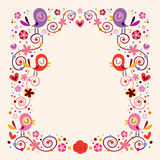 Birds and flowers border Stock Images