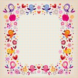 Birds and flowers border Royalty Free Stock Image