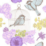 Birds, flowers and cage seamless pattern. Birds and flowers with cage- drawn in pen and ink style Royalty Free Stock Photos