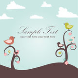 Birds and flowers card Royalty Free Stock Images