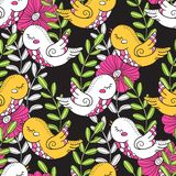 Birds and flowers. Decorative Pattern. Birds and flowers. Bright seamless pattern. Prints for wallpaper, wrapper, fabric, paper Stock Photography