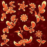 Birds and flowers isolated on red Royalty Free Stock Images