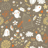 Birds and flowers pattern. Seamless pattern with floral elements and birds, vector illustration Stock Photo
