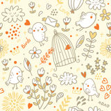 Birds and flowers pattern. Seamless pattern with floral elements and birds,  illustration Royalty Free Stock Photo