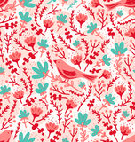 Birds and flowers pattern Stock Images