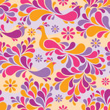 Birds and Flowers Pattern in Warm Colors. Seamless pattern of stylized birds and flowers in warm colors Stock Photography