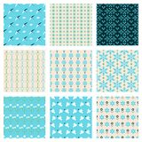 Birds and flowers patterns. Blue fashionable birds and flowers vector seamless patterns set Royalty Free Stock Photography
