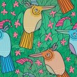 Birds Flowers Pink Green Seamless Pattern_eps. Illustration hand drawn cartoon Christmas Bird with pink flowers and green plants seamless pattern Royalty Free Stock Photography
