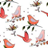 Birds flowers seamles pattern Stock Photography