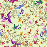 Birds and flowers seamless. Decorative colorful  seamless background with stylized flowers and birds patterns Royalty Free Stock Photo