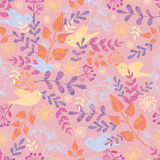 Birds among flowers seamless pattern background Stock Image