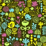 Birds and flowers seamless pattern. Stock Photo