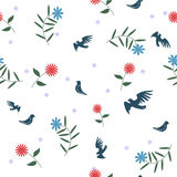 Birds with flowers. Seamless pattern. Birds with flowers. Romantic seamless pattern in Stock Images