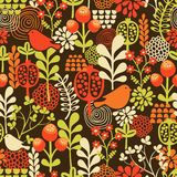 Birds and flowers seamless pattern. Stock Images