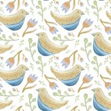 Birds and flowers seamless pattern royalty free illustration