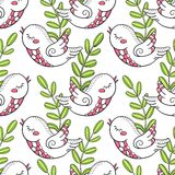 Flowers and birds. Summer pattern with decorative elements in the doodle style. Birds and flowers. Seamless pattern on white background. Prints for wallpaper royalty free illustration