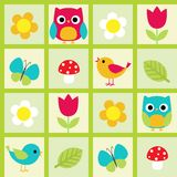 Birds and flowers Royalty Free Stock Photo