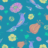 Birds and flowers seamless vector pattern on dark blue background Royalty Free Stock Photo