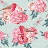Birds and flowers seamless Stock Photos