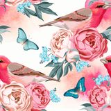 Birds and flowers seamless Royalty Free Stock Photos