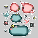 Birds and flowers speech bubbles Stock Photos