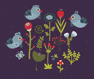 Birds and flowers. Royalty Free Stock Photos