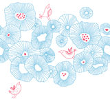 Birds with flowers. Vector retro floral pattern with birds Royalty Free Stock Images