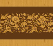 Birds among flowers wooden horizontal seamless Stock Images