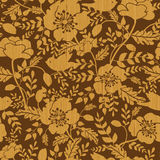 Birds among flowers wooden seamless pattern Stock Photography