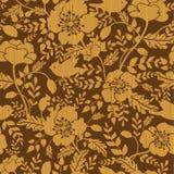 Birds among flowers wooden seamless pattern Stock Photography