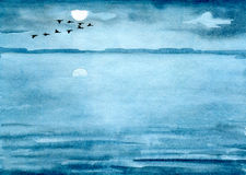 Birds fly. Evening landscape, birds fly over the lake, hand-painted watercolor illustration and paper texture vector illustration