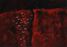 Birds fly to the gorge. Handpainted acrylic artwork. stock illustration
