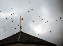 Birds flying around a church cross Royalty Free Stock Photos