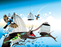 Birds flying away from their cages Stock Image