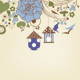 Birds flying and bird cages background. Birds flying and bird cages in a floral garden vector illustration