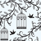 Birds flying and cage. Seamless background with branch of tree silhouette, birds flying and cage vector illustration
