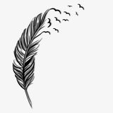 Birds flying ot of a quill. Creativity concept vector illustration