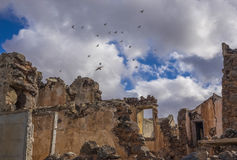 Birds flying over ruin La Oliva Fuerteventura Las Palmas Canary Islands Spain Stock Photo