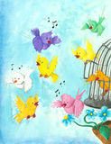 Birds flying and singing out of their cage. Hand made illustration of birds flying and singing out of their cage Stock Photography