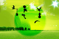 Birds, flying in sky royalty free illustration