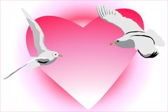Birds flying towards each other in an impulse of l. Ove Stock Photography