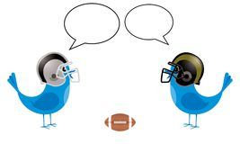 Birds with football helmets talking, two little blue birds with blank speech bubbles Royalty Free Stock Photos
