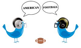 Birds with football helmets talking Stock Images