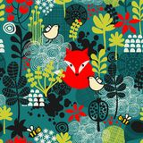Birds, fox and flowers seamless pattern.