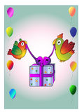 Birds with gift Royalty Free Stock Image