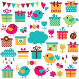 Birds and gifts clip art set Royalty Free Stock Photos